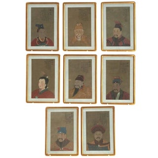Early 20th Century Antique Chinese Ancestral Portrait Paintings- Set of 8 For Sale