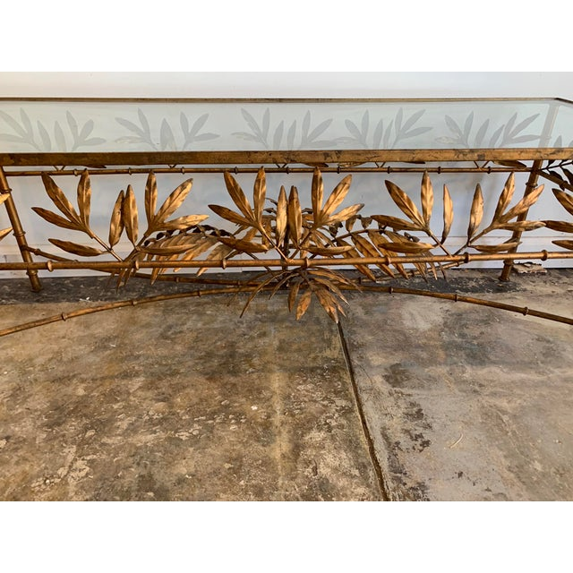Vintage Hollywood Regency Gilded Metal Coffee Table W/Bamboo Leaf Design & Glass Top For Sale - Image 4 of 7