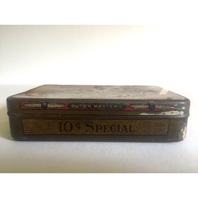 """Vintage Early 1900's """"Dutch Masters"""" Lithograph Cigar Tin Box For Sale - Image 5 of 11"""