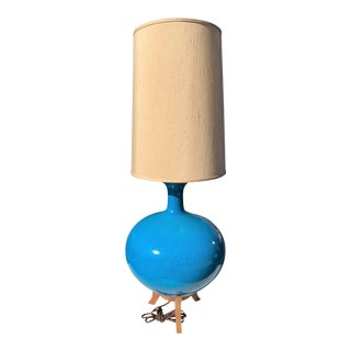 Mid-Century Blue Pottery Table Lamp For Sale