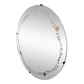 Modern Etched Circular Mirror For Sale