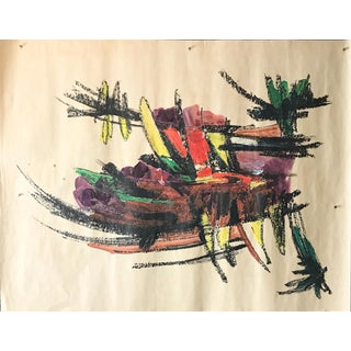 """Mid Century Gouache & Oil Pastel """"Abstract Bowl of Bananas"""" 1960s Female Artist For Sale"""