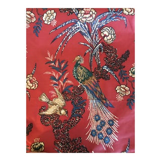 "Country Miles Redd for Schumacher ""Peacock"" in Red Fabric - 4 1/2 Continuous Yards For Sale"