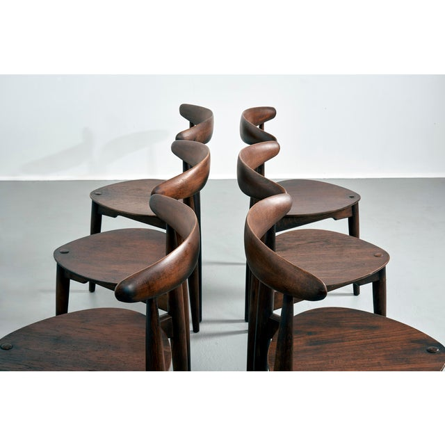 1950s Hans Wegner for Fritz Hansen Heart Dining Set With 6 Chairs, Circa 1950's For Sale - Image 5 of 7