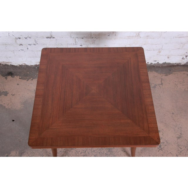 Harvey Probber Mid-Century Modern Mahogany Saber Leg Flip Top Extension Dining or Game Table For Sale In South Bend - Image 6 of 11
