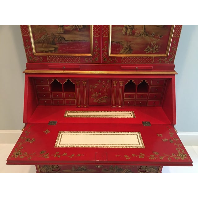 1970s Chinoiserie Red Lacquer Secretary Cabinet For Sale In West Palm - Image 6 of 8