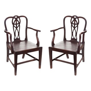 English Chippendale Arm Chairs - a Pair For Sale