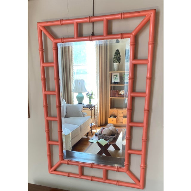 Chippendale Orange Bamboo Mirror For Sale - Image 4 of 4