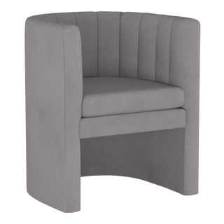 Barrel Chair, Velvet Otter For Sale