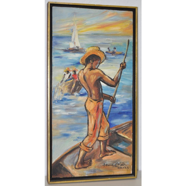 Edouard Wah Haitian Original Oil Painting C.1960s - Image 2 of 7