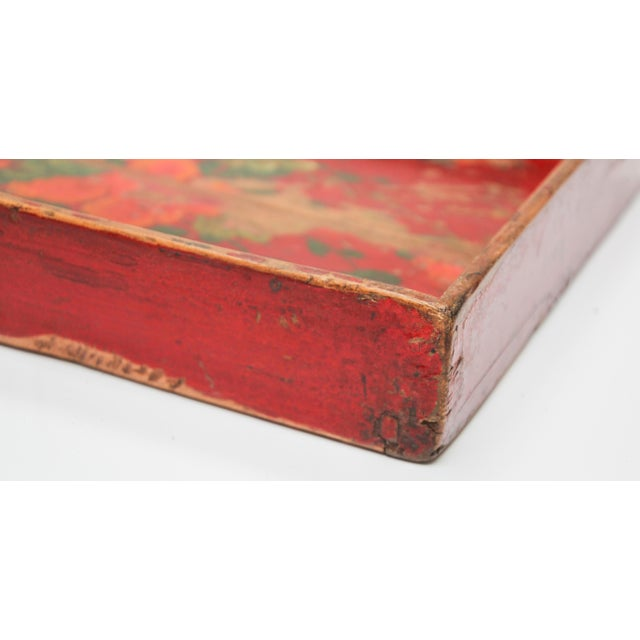 Chinese Antique Red Hand Painted Wood Tray For Sale - Image 12 of 13