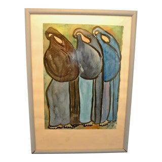 Celestino Piatti Watercolor Painting For Sale