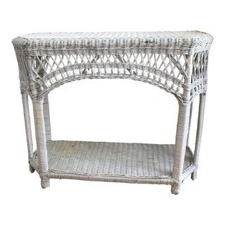 Vintage Wicker Credenza Side Table Bar For Sale