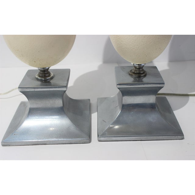 Mid-Century Modern Tony Duquette Style Ostrich Egg Table Lamps - a Pair For Sale In West Palm - Image 6 of 13