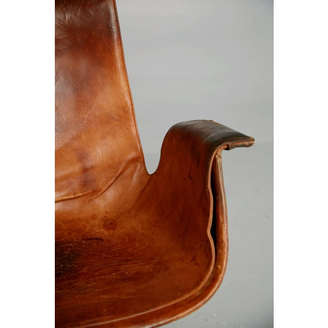 Animal Skin Distressed Leather Bird Chair by Preben Fabricius & Jørgen Kastholm for Alfred Kill For Sale - Image 7 of 10
