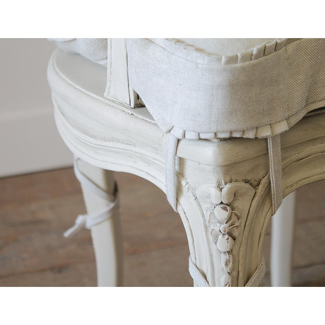 Caning 20th Century Vintage Painted Cane Back Open Arm Chairs- A Pair For Sale - Image 7 of 13