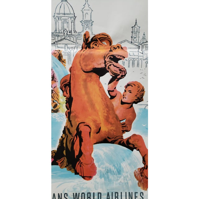 White Original Vintage Travel Poster Rome via Twa Trans World Airlines C.1960s For Sale - Image 8 of 10