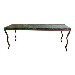 1980s Vintage Green Marble and Iron Lightning Bench For Sale