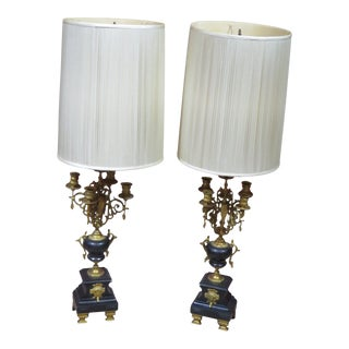 Neoclassical Style Candelabra Lamps - a Pair For Sale