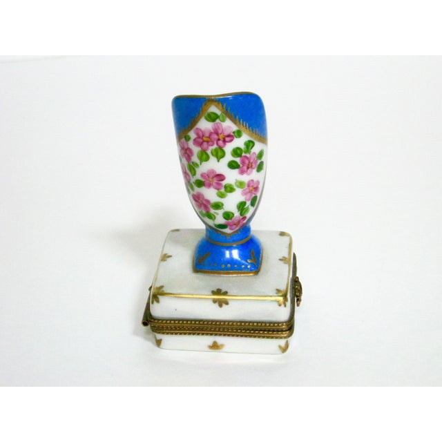 Limoges French Hand Painted Trinket Box For Sale - Image 5 of 7