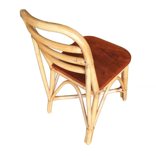 1950s Restored Mid Century Rattan Dining Side Chair With Mahogany Seat, Set of Six For Sale - Image 5 of 8