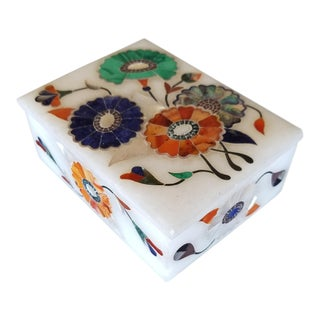 Agra Marble Inlay Box For Sale