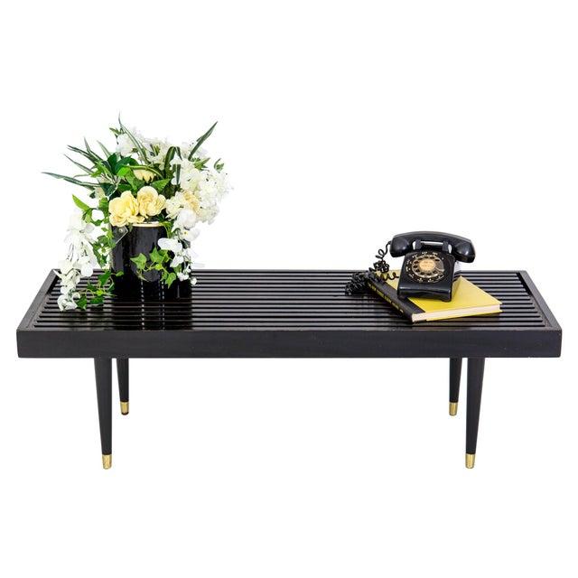 Mid Century Slat Bench Coffee Table - Image 6 of 9