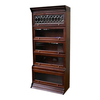Crafters and Weavers Legacy 5 Stack Barrister Bookcase - Brown Walnut For Sale