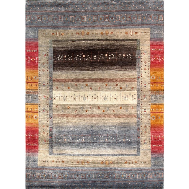 """Tribal Hand-Knotted Shiraz Wool Rug - 5'6"""" x 7'7"""" - Image 1 of 4"""