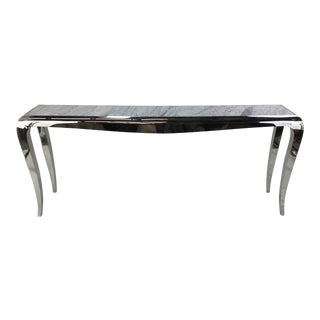 Caracole Chrome and Carrara Marble Magnificent Console Table For Sale