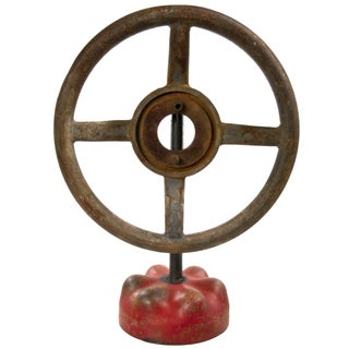 Large Vintage Cast Iron Valve Handle on Stand For Sale