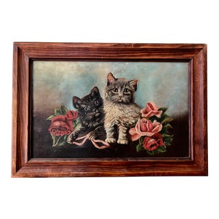 1908 Antique Original Small Kitten Framed Painting For Sale