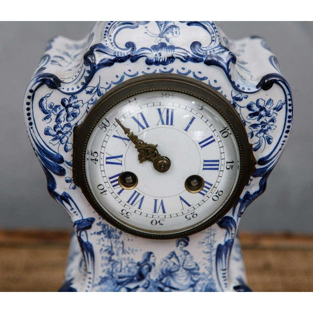Baroque Blue and White French Shelf Clock For Sale - Image 3 of 6