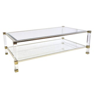 Pierre Vandel Chrome Lucite Glass Coffee Table For Sale