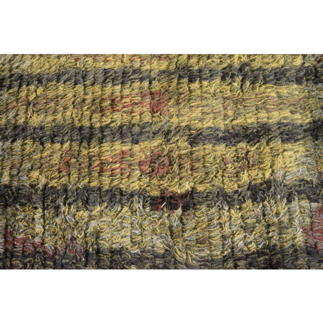 Green Graphic Finnish Rya Rug For Sale - Image 8 of 11