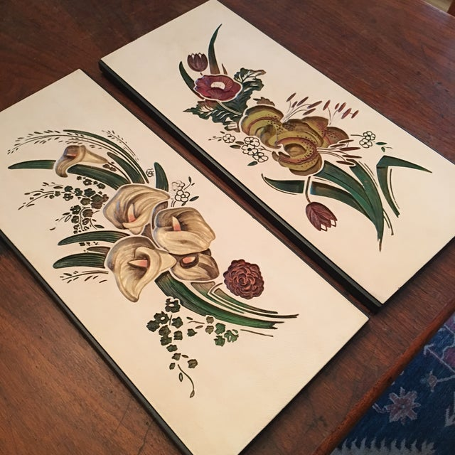 Mid Century Chalkware Botanic Plaques - a Pair For Sale - Image 9 of 12