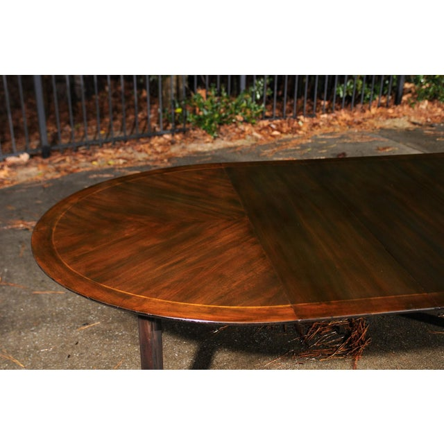 Brown Majestic Restored Elliptical Walnut Extension Dining Table by Baker, circa 1958 For Sale - Image 8 of 11