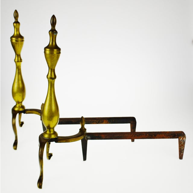 Vintage Logan Co. Federal Style Brass Fireplace Andirons - a Pair For Sale In Philadelphia - Image 6 of 13