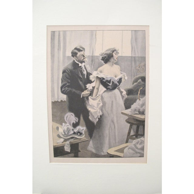1900's Original Vintage French Boudoir \ Dressing Lithograph (Plate 2) For Sale - Image 4 of 4