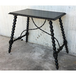 19th Century Spanish Side Table With Iron Stretcher, End Table Preview