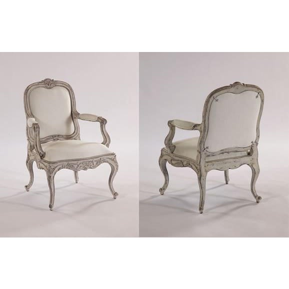 Swede Collection Swedish Curvy Rococo Occasional Armchair For Sale - Image 4 of 5