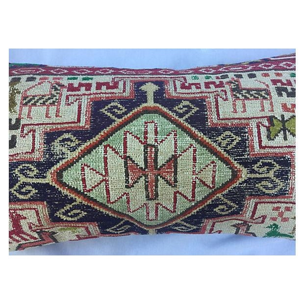 Silk Sumak Rug Pillow W/ Animal Motif - Image 4 of 6