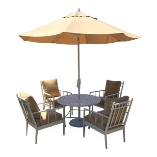 Top Drawer Round Bistro Patio Table and 4 Arm Chairs For Sale