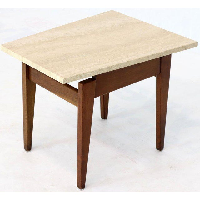 Risom Walnut End Tables W/ Wedge Shape Travertine Marble Tops - A Pair For Sale - Image 10 of 13