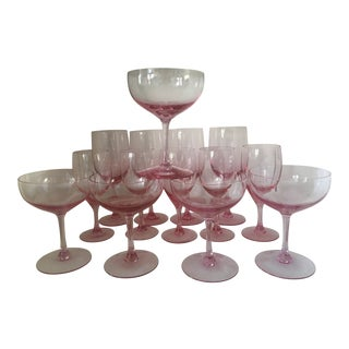 Vintage Mid-Century Fostoria Pink Water, Wine and Champagne Coupes - Set of 14 For Sale
