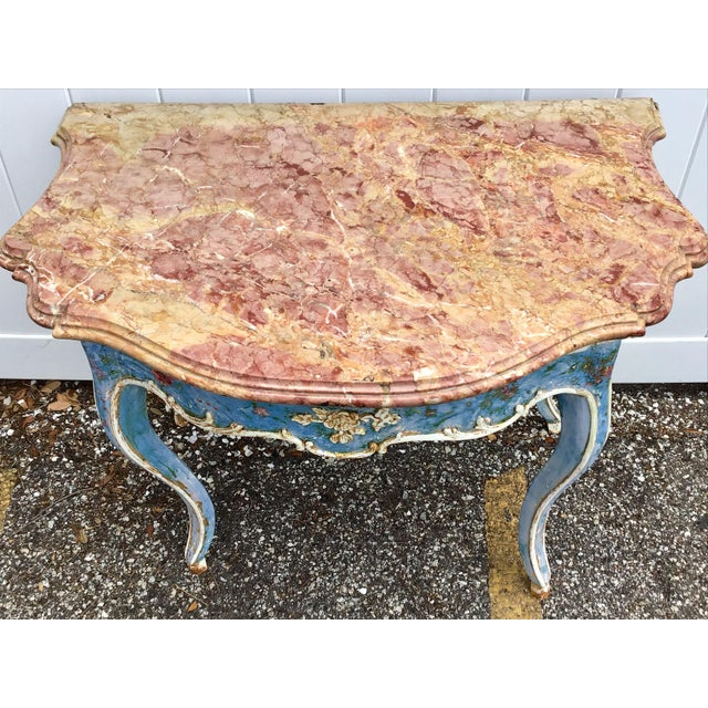 Venetian Painted Marble Top Console Table For Sale - Image 9 of 12