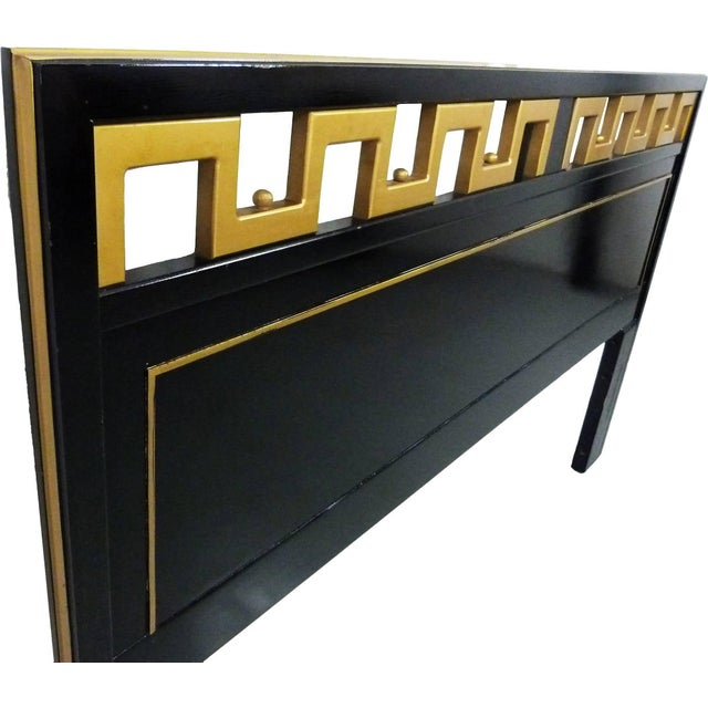 Mid-Century black lacquered and gold trim with Greek key detailed king headboard, by American of Martinsville.