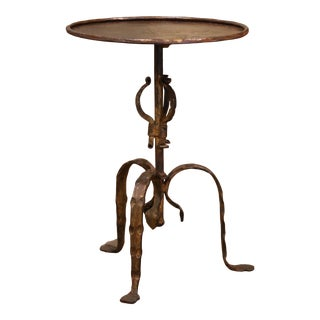 Early 20th Century French Rust and Gilt Painted Iron Pedestal Martini Side Table For Sale