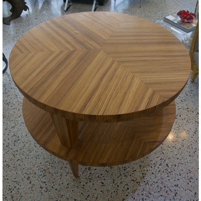 Tan Art Deco Revival Center Table in Exotic Zebrano Wood For Sale - Image 8 of 9