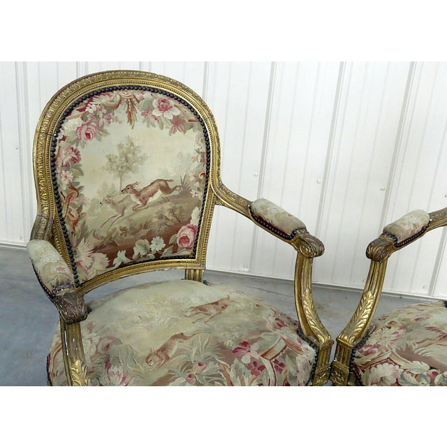 Louis XVI Pair of French Louis XVI Style Needlepoint Fauteuils For Sale - Image 3 of 11